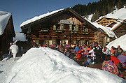A traditional alpine restaurant chalet in the Austrian ski resort of Altenmarkt.