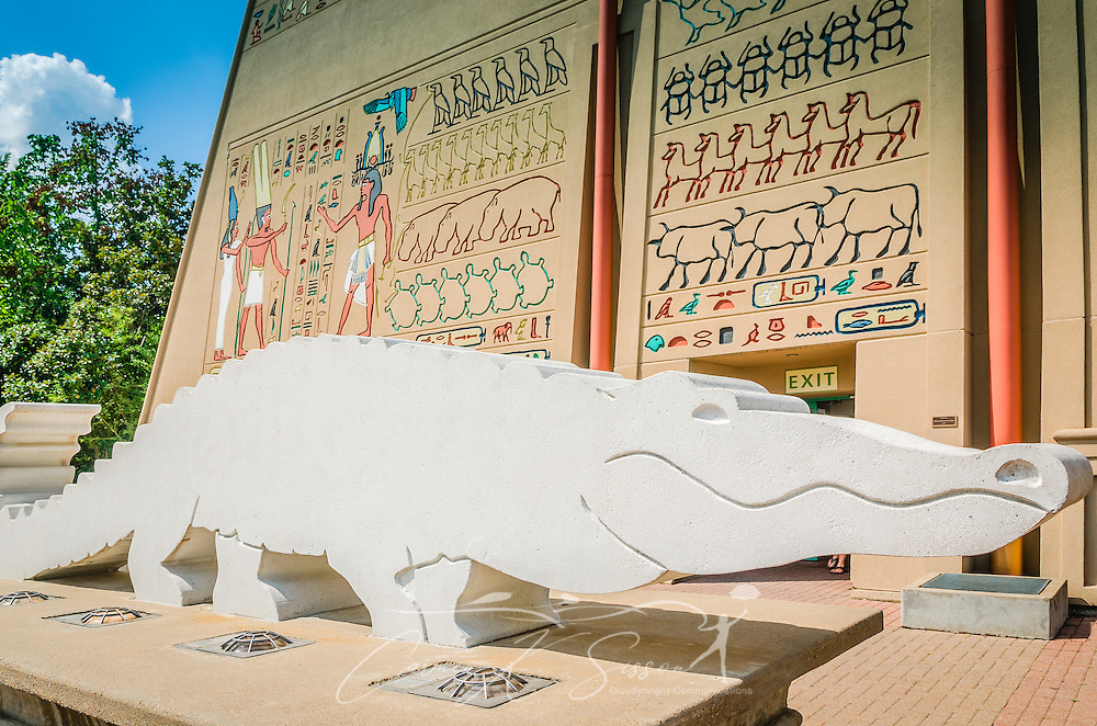 A concrete alligator and Egyptian hieroglyphics decorate the entrance to the Memphis Zoo, September 8, 2015, in Memphis, Tennessee. The zoo features more than 3,500 animals representing more than 500 species; it is one of only four zoos in the nation to feature a panda exhibit. (Photo by Carmen K. Sisson/Cloudybright)