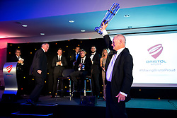Chris Booy presents a replica of the Bristol Rugby 2015/16 Championship trophy to Steve Lansdown at Bristol Sport's Annual Gala Dinner in the Lansdown Restaurant at Ashton Gate Stadium - Rogan Thomson/JMP - 08/12/2016 - SPORT - Ashton Gate Stadium - Bristol, England.