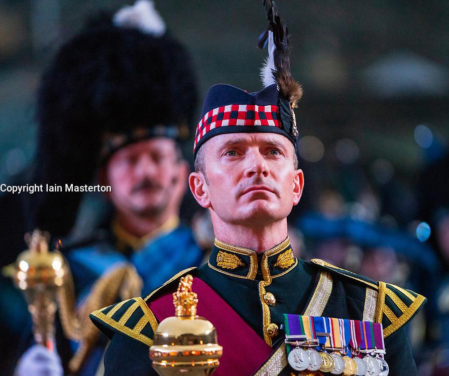 The 2018 Royal Edinburgh International Military Tattoo on esplanade of Edinburgh Castle, Scotland, UK