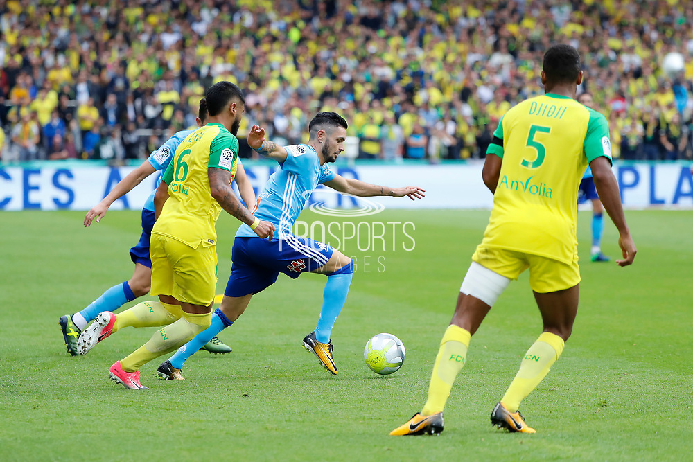 Remy Cabella (Olympique de Marseille), Lucas LIMA (FC Nantes), Florian Thauvin (Olympique de Marseille), Koffi DJIDJI (FC Nantes) during the French championship L1 football match between Rennes v Lyon, on August 11, 2017 at Roazhon Park stadium in Rennes, France - Photo Stephane Allaman / ProSportsImages / DPPI