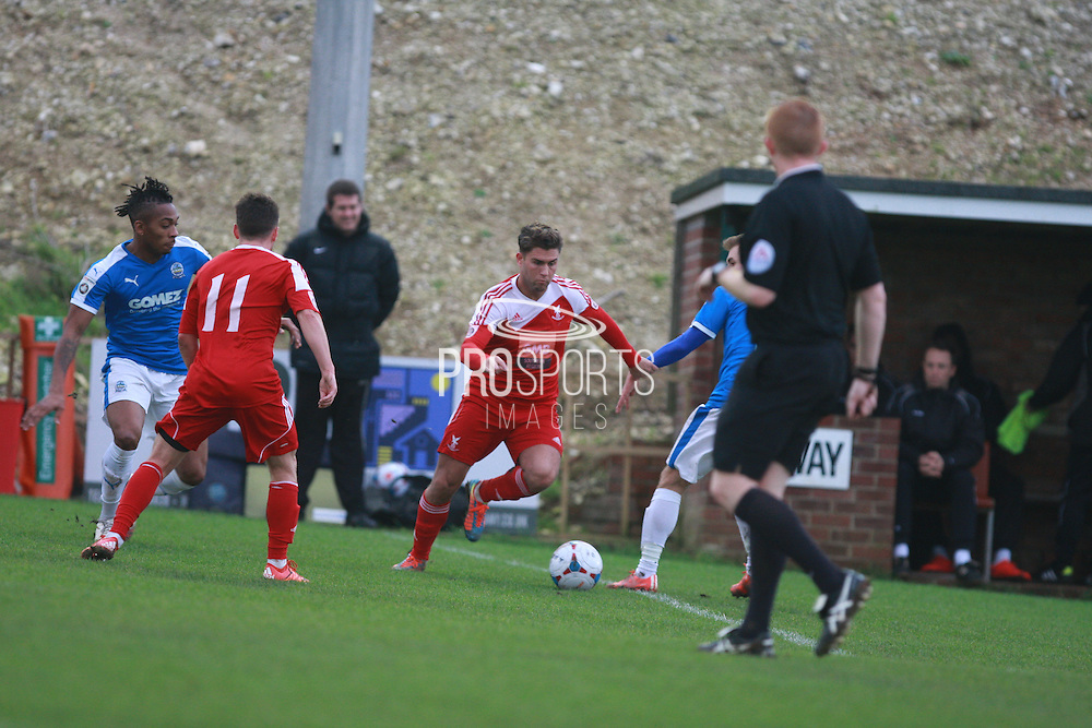 Whitehawk midfielder Scott Neillson during the FA Trophy match between Whitehawk FC and Dover Athletic at the Enclosed Ground, Whitehawk, United Kingdom on 12 December 2015. Photo by Bennett Dean.