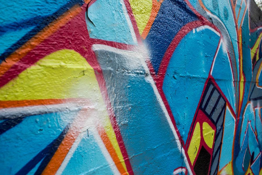 Original aerosol artwork created on location. No stencils or masking used. Detail images.