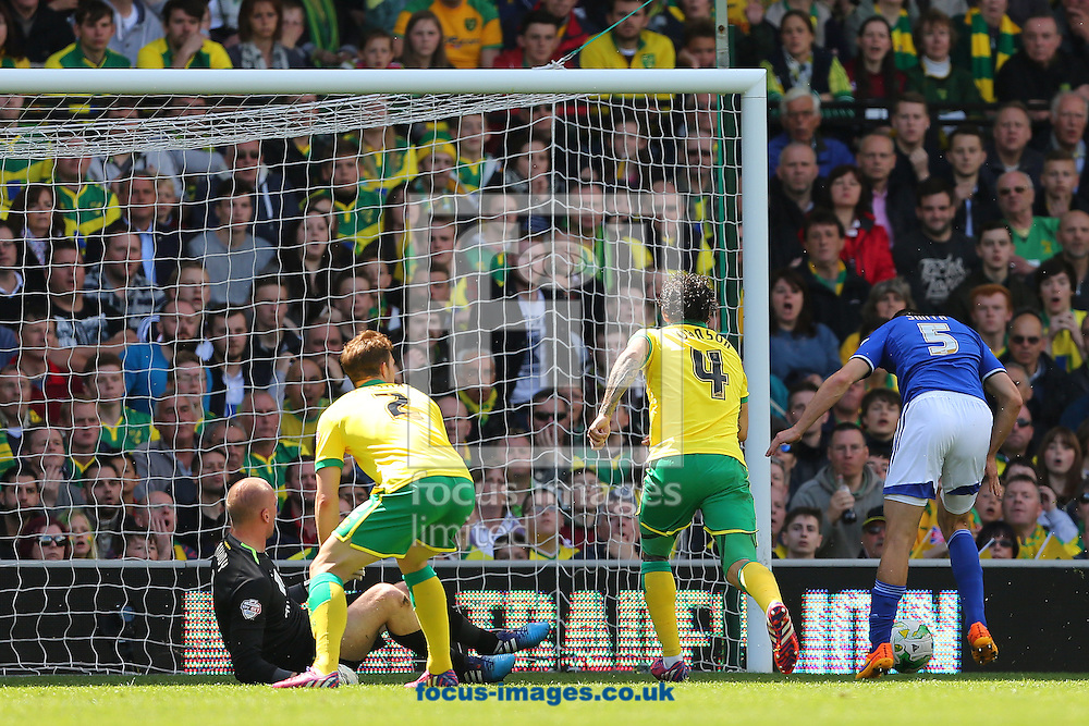 Tommy Smith of Ipswich Town scores the equalising goal during the Sky Bet Championship match at Carrow Road, Norwich<br /> Picture by Richard Calver/Focus Images Ltd +44 7792 981244<br /> 16/05/2015