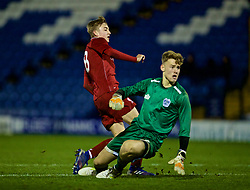 BURY, ENGLAND - Wednesday, March 6, 2019: Liverpool's Jake Cain scores the second goal past Bury's goalkeeper James Holden during the FA Youth Cup Quarter-Final match between Bury FC and Liverpool FC at Gigg Lane. (Pic by David Rawcliffe/Propaganda)
