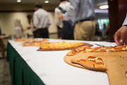 Pizza was served at the beginning of the College of Business's How to Meet the Firms interactive student workshop on Sept. 6, 2016. Photo by Emily Matthews