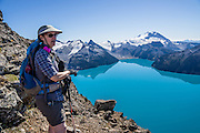 From stunning Panorama Ridge, admire the vibrant turquoise color of Garibaldi Lake, which comes from glacial flour suspended in meltwater from Sphinx and Sentinel Glaciers. Above the lake rise Mount Garibaldi (2678 m or 8786 ft), a potentially active stratovolcano. Garibaldi Provincial Park is east of the Sea to Sky Highway (Route 99) between Squamish and Whistler in the Coast Range, British Columbia, Canada. A hiking loop to Garibaldi Lake via Taylor Meadows Campground is 11 miles (18k) round trip, with 3010 ft (850m) gain. Panorama Ridge is 6 miles (10k) RT with 2066 ft (630m) gain from either Taylor Meadows or Garibaldi Lake Campground (or 17 miles RT with 5100 ft gain from Rubble Creek parking lot). For licensing options, please inquire.