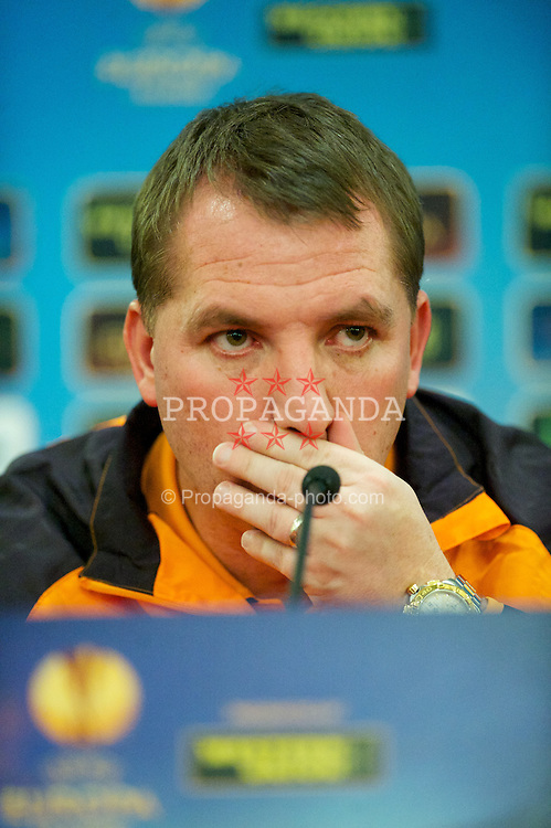SAINT PETERSBURG, RUSSIA - Wednesday, February 13, 2013: Liverpool's manager Brendan Rodgers during a press conference at The Grand Hotel Europe ahead of the UEFA Europa League Round of 32 match against FC Zenit St Petersburg. (Pic by David Rawcliffe/Propaganda)