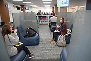 Ohio University faculty, staff, and students visit the new CoLab on the third floor of Alden Library for the Student Open House on Oct. 30, 2018. Photo by Hannah Ruhoff