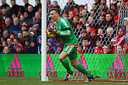Nottingham Forest goalkeeper Dorus de Vries claims the ball during the Sky Bet Championship match between Nottingham Forest and Huddersfield Town at the City Ground, Nottingham, England on 13 February 2016. Photo by Aaron  Lupton.