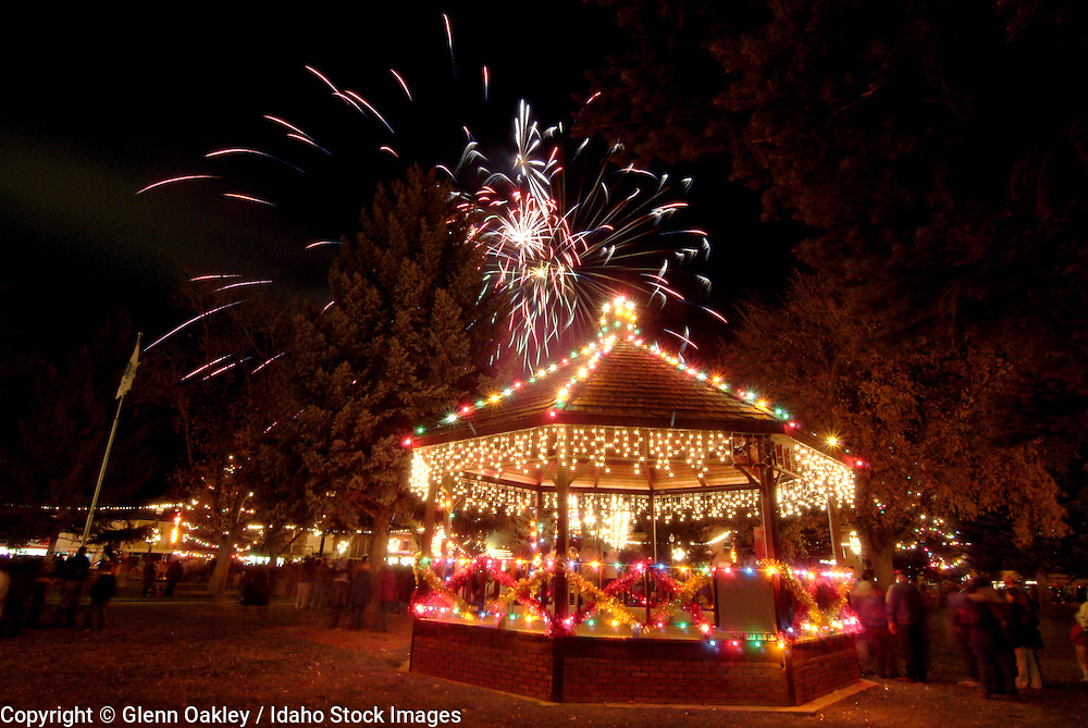 Rupert, Idaho, kicks off its Christmas celebrations the day after Thanksgiving with Christmas train rides, fireworks, and a visit from Santa, who turns on the lights from the town square gazeba and then sets up shop in Santa's house.