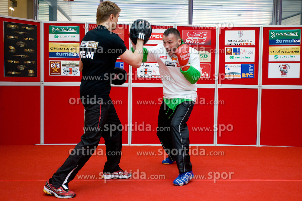 Boxer Dirk Dzemski, German coach and Slovenian Boxer Dejan Zavec alias Jan Zaveck alias Mr. Simpatikus at open for public and press practice session before defending title of IBF World Champion, on April 6, 2010, in BTC City park, Ljubljana, Slovenia.  (Photo by Vid Ponikvar / Sportida)
