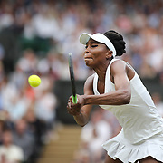 LONDON, ENGLAND - JULY 15:  Venus Williams of The United States in action against Garbine Muguruza of Spain in the Wimbledon Lawn Tennis Championships at the All England Lawn Tennis and Croquet Club at Wimbledon on July 15, 2017 in London, England. (Photo by Tim Clayton/Corbis via Getty Images)