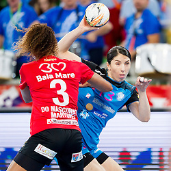 Alexandra Priscila Do Nascimento of HCM Baia Mare and Mirjeta Bajramoska of RK Krim Mercator during handball match between RK Krim Mercator (SLO) and HCM Baia Mare (ROM) in 1st Round of Women's EHF Champions League 2015/16, on October 16, 2015 in Arena Stozice, Ljubljana, Slovenia. Photo by Urban Urbanc / Sportida