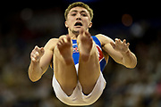 Sam Oldham of Great Britain (GBR) dismounts from the Pommel Horse during the iPro Sport World Cup of Gymnastics 2017 at the O2 Arena, London, United Kingdom on 8 April 2017. Photo by Martin Cole.