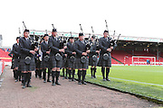 Bagpipes during the Pre-Season Friendly match between Aberdeen and Brighton and Hove Albion at Pittodrie Stadium, Aberdeen, Scotland on 26 July 2015.