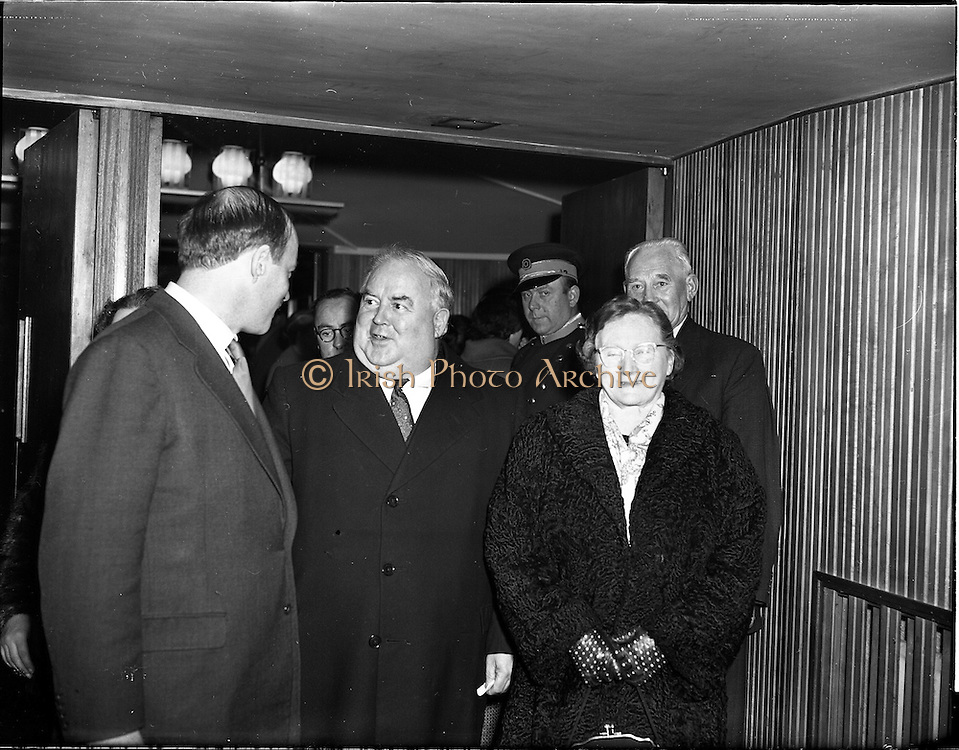 05/02/1960<br /> 02/05/1060<br /> 05 February 1960 <br /> Premiere of Mise Eire at the Regal Cinema, Dublin.  Image shows on left, Donall &Oacute; Morain, right, Chairman Gael Linn, welcoming attendees to the movie premiere.