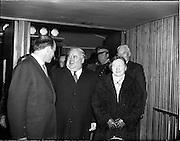 05/02/1960<br /> 02/05/1060<br /> 05 February 1960 <br /> Premiere of Mise Eire at the Regal Cinema, Dublin.  Image shows on left, Donall Ó Morain, right, Chairman Gael Linn, welcoming attendees to the movie premiere.