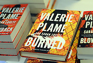 Copies of former CIA operative Valerie Plame books rest on a table as she speaks at the Huntingdon Valley Library's spring author brunch and luncheon Sunday, April 10, 2016 at Philmont Country Club in Huntingdon Valley, Pennsylvania.  (Photo by William Thomas Cain)