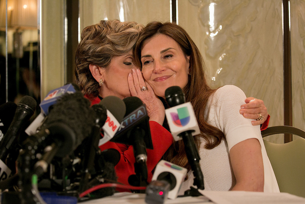 NEW YORK, NY - OCTOBER 20, 2016:  Attorney Gloria Allred and Karena Virginia appear at a press conference, accusing Republican presidential nominee Donald J. Trump of unwanted sexual advances on Virginia in 1998 at the London Hotel in New York, New York. CREDIT: Sam Hodgson for The New York Times.