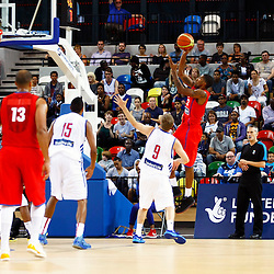 GB men vs Puerto Rico basketball at the Copper Box Arena. Angel R. Rosa (13) shoots. 11/08/2013 (c) MATT BRISTOW