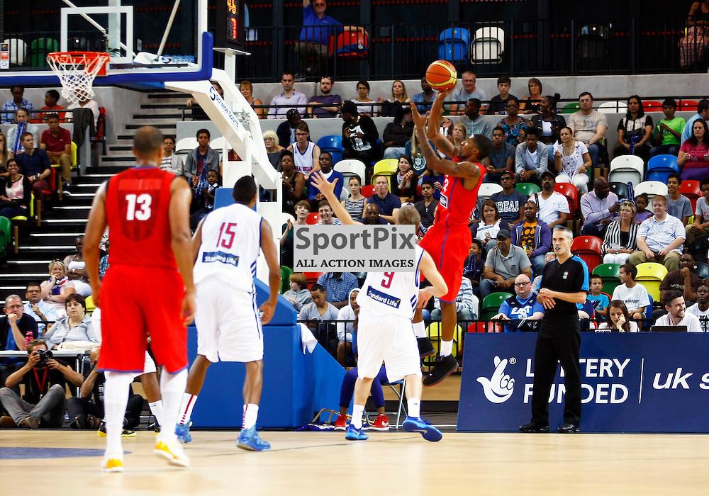 GB men vs Puerto Rico basketball at the Copper Box Arena. Angel R. Rosa (13) shoots. 11/08/2013 (c) MATT BRISTOW