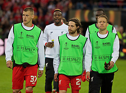 BASEL, SWITZERLAND - Wednesday, May 18, 2016: Liverpool's substitutes Martin Skrtel, Joe Allen and Lucas Leiva before the UEFA Europa League Final against Sevilla at St. Jakob-Park. (Pic by David Rawcliffe/Propaganda)