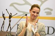 Nicolas Celaya/ URUGUAY/ MONTEVIDEO/ TORRE EJECUTIVA<br /> En la foto, Mar&iacute;a Noel Riccetto, durante una conferencia de prensa y presentacion del premio que gano a mejor bailarina, el Benoise de la Danse, galard&oacute;n m&aacute;s importante de la danza cl&aacute;sica en el mundo, en Torre Ejecutiva. Nicol&aacute;s Celaya /adhocFOTOS<br /> 2017 - 1 de junio - jueves