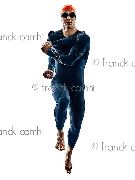 triathlete triathlon Swimmer wearing swimsuit  in silhouette isolated  on white background