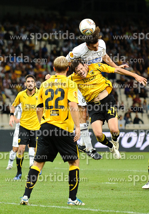 29.09.2011, Spiros Louis Stadium, Athen, GRE, UEFA EL, Gruppe L, AEK Athen (GRE) vs Sturm Graz (AUT), im Bild Thomas Burgstaller, (Sturm, #13), Mavroudis Bougaidis, (AEK Athen, #47) // during UEFA Europa League group L football game between AEK Athen (GRC) and Sturm Graz (AUT) at Spiros Louis Stadium in Athen, Greece on 29/09/2011. EXPA Pictures © 2011, PhotoCredit: EXPA/ S. Zangrando