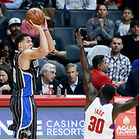 11 January 2017: Orlando Magic forward Aaron Gordon (00) takes a jump shot over LA Clippers forward Brandon Bass (30) during the LA Clippers 105-96 victory over the Orlando Magic, at the Staples Center, Los Angeles, California, USA.
