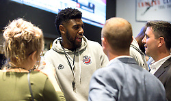 Leslee Smith of Bristol Flyers chats with guests - Mandatory by-line: Robbie Stephenson/JMP - 12/09/2016 - BASKETBALL - Ashton Gate Stadium - Bristol, England - Bristol Flyers Sponsors Event