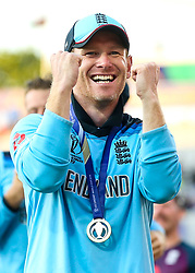 Eoin Morgan of England celebrates winning The Cricket World Cup - Mandatory by-line: Robbie Stephenson/JMP - 14/07/2019 - CRICKET - Lords - London, England - England v New Zealand - ICC Cricket World Cup 2019 - Final