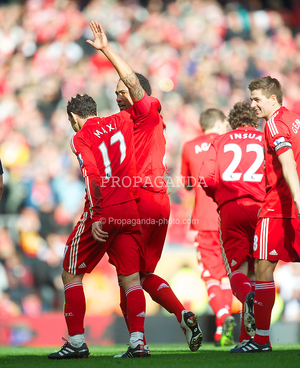 LIVERPOOL, ENGLAND - Sunday, March 28, 2010: Liverpool's Glen Johnson celebrates scoring his side's second goal against Sunderland during the Premiership match at Anfield. (Photo by: David Rawcliffe/Propaganda)
