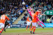 Luton Town goalkeeper Jonathan Mitchell punches the ball out of danger during the Sky Bet League 2 match between Plymouth Argyle and Luton Town at Home Park, Plymouth, England on 19 March 2016. Photo by Graham Hunt.