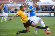 Dominic Collins (left) and James Constable of Eastleigh (right) during the The FA Cup match at Haig Avenue, Southport<br /> Picture by Ian Wadkins/Focus Images Ltd +44 7877 568959<br /> 07/12/2014