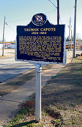 05 February 2015. Monroeville, Alabama.<br /> On the trail of Harper Lee's 'To Kill a Mocking Bird.'<br /> A marker shows where Truman Capote's childhood home once stood. It was next door to Harper Lee's childhood home which is now Mel's Dairy Dream, a hamburger and ice cream take out only restaurant.<br /> Photo; Charlie Varley/varleypix.com