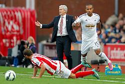 Stoke City Manager Mark Hughes looks annoyed - Photo mandatory by-line: Rogan Thomson/JMP - 07966 386802 - 19/10/2014 - SPORT - FOOTBALL - Stoke-on-Trent, England - Britannia Stadium - Stoke City v Swansea City - Barclays Premier League.