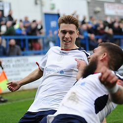 TELFORD COPYRIGHT MIKE SHERIDAN 13/10/2018 - GOAL. Henry Cowan of AFC Telford celebrates with Shane Sutton after he scores to make it 1-1 during the Vanarama National League North fixture between AFC Telford United and Chorley