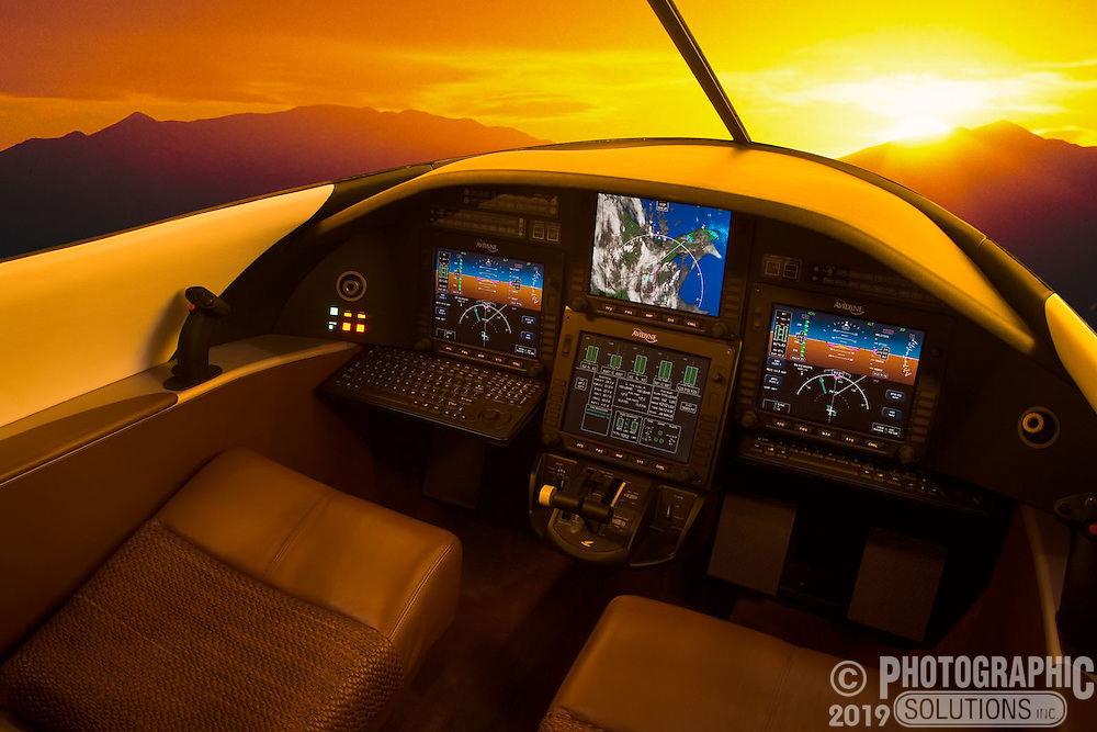 The inside of the Spectrum 33 jet cockpit, shot with warm light to simulate the sunset added in post.
