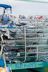 The back of the Blue Manta clear kayak excursion boat at Prince George Wharf, Bahamas.