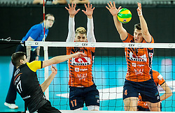 Nikolay Penchev of PGE Skra Belchatow vs Maksim Buculjevic of ACH and Jan Kozamernik of ACH during volleyball match between ACH Volley (SLO) and PGE Skra Belchatow (POL) in Round #4 of 2017 CEV Volleyball Champions League, on January 19, 2017 in Arena Stozice, Ljubljana, Slovenia. Photo by Vid Ponikvar / Sportida