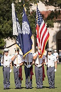 Members of the Citadel Military College corps of cadets color guard during the first Friday Dress Parade on September 6, 2013 in Charleston, South Carolina. The Friday Dress Parade is a tradition at the Citadel going back to 1843.