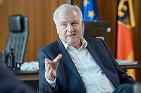 01 JUL 2019, BERLIN/GERMANY:<br /> Horst Seehofer, CSU, Bundesinnenminister, waehrend einem Interview, in seinem Buero, Bundesministerium des Inneren<br /> IMAGE: 20190701-01-050<br /> KEYWORDS: Büro