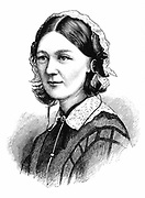 Florence Nightingale (1820 -1910) English nurse and statistician. From 'The Illustrated Midland News, 19 March 1870. Wood engraving.