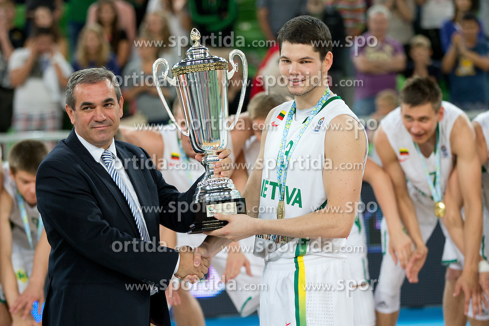 Roman Volcic, president of KZS, and Vytenis Cizauskas of Lithuania during ceremony of new European champions Lihtuania after basketball match between National teams of Lithuania and France in Final match of U20 Men European Championship Slovenia 2012, on July 22, 2012 in SRC Stozice, Ljubljana, Slovenia. Lithuania defeated France 50:49. (Photo by Matic Klansek Velej / Sportida.com)