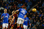 Gareth McAuley headers the ball clear during the Ladbrokes Scottish Premiership match between Rangers and Motherwell at Ibrox, Glasgow, Scotland on Sunday 11th November 2018.