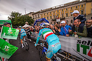 Vincenzo Nibali (ITA AST) rides to the signature check area of Il Lombardia 2015 Bergamo - Como