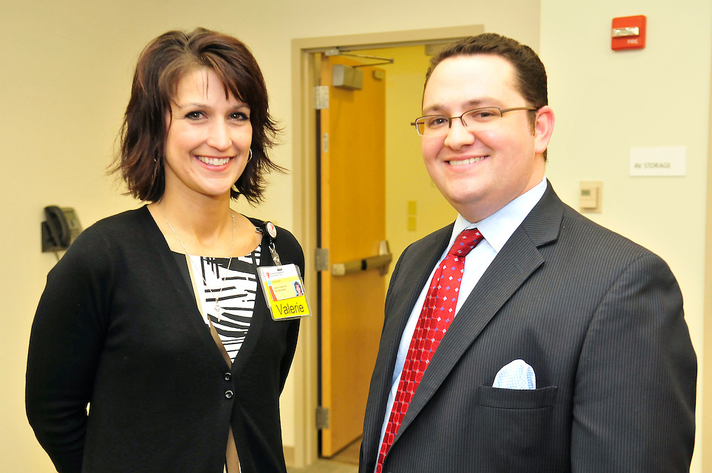 Director of Hospital operations at Ahuja Medical Center Valerie Hayden, left, with Alan Feuerman, President of the Bachwood 100 at an event sponsored by the Beachwood 100 at Ahuja Medical Center on Tuesday, May 3, 2011. Jason Miller