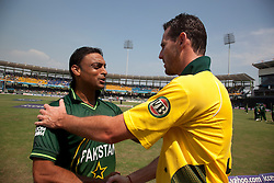 ©London News Pictures. 19/03/2011.Australian Shaun Tait congratulates Shoaib Akhtar at R.Premadasa Stadium Colombo Sri Lanka